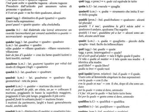 Dizionario dialèt de Treì: Lettera Q
