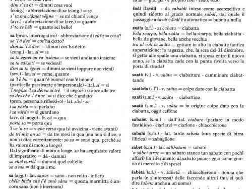 Dizionario dialèt de Treì: Lettera S