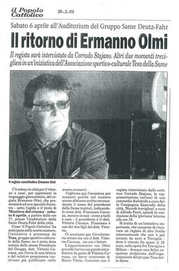 Popolo Cattolico 2002 : Ermanno Olmi a Treviglio