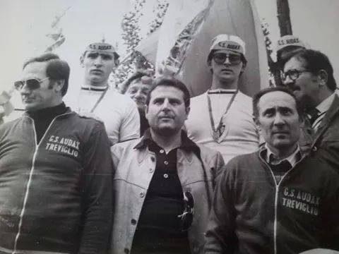 Treviglio Ciclismo : Palmiro Rossoni, Rino Cornelli, sig. Bresciani, Mario Fontana