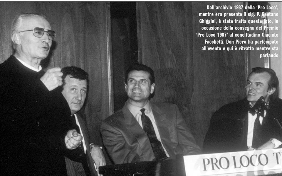 Treviglio : Premio Pro Loco 1987 Don Piero Perego , Giacinto Facchetti , P.G.Ghiggini