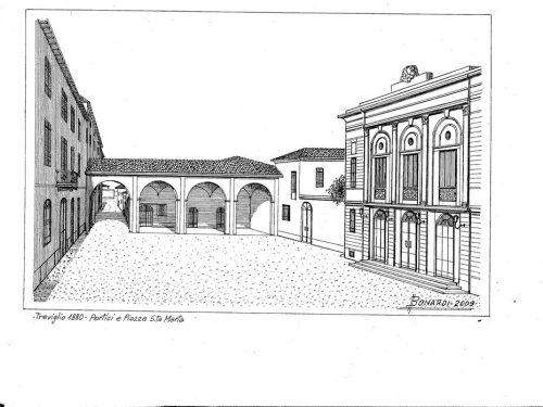 Treviglio l'antica piazza Garibaldi (dis.Giancarlo Bonardi)