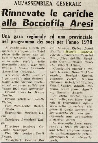 Bocciofila Aresi Treviglio 1970