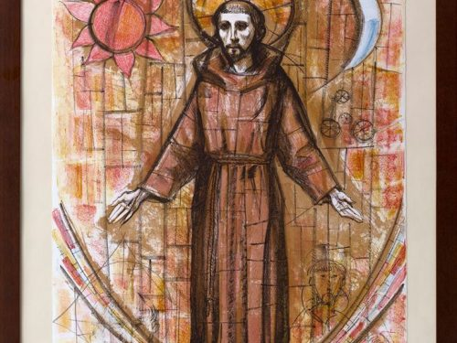 Trento Longaretti , studio vetrata chiesa S. Francesco