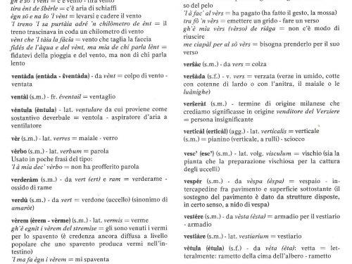Dizionario dialèt de Treì: Lettera V